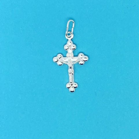 Genuine 925 Sterling Silver Floral Tipped Jesus Christ Crucifix Cross Pendant